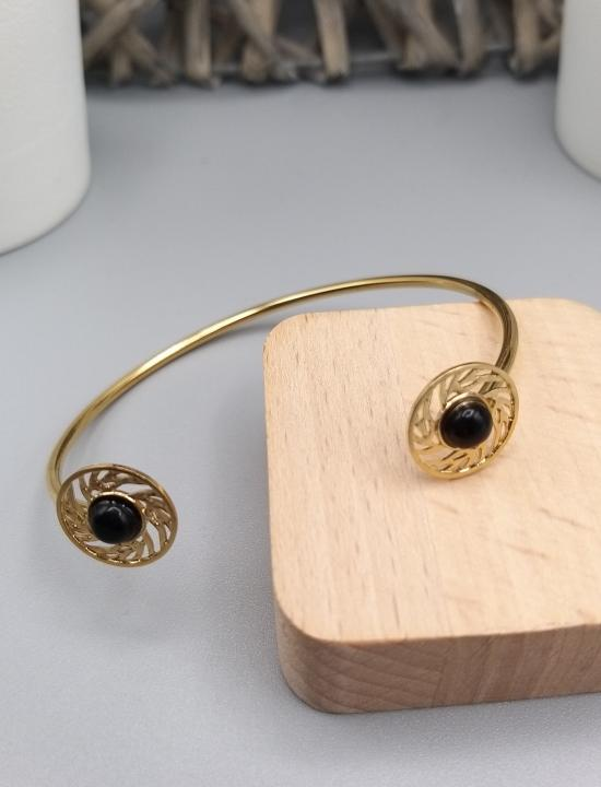 Bracelet jonc en acier inoxydable doré et cabochon noir