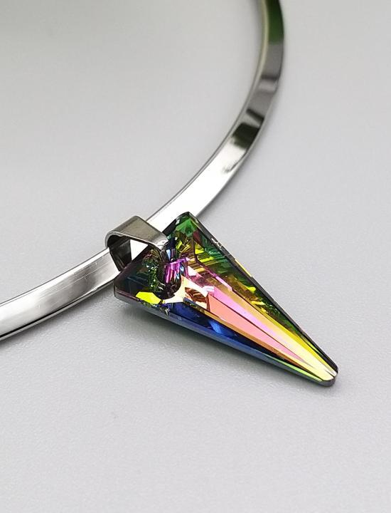 Collier Ras de cou rigide en acier inoxydable et cristal multi couleur
