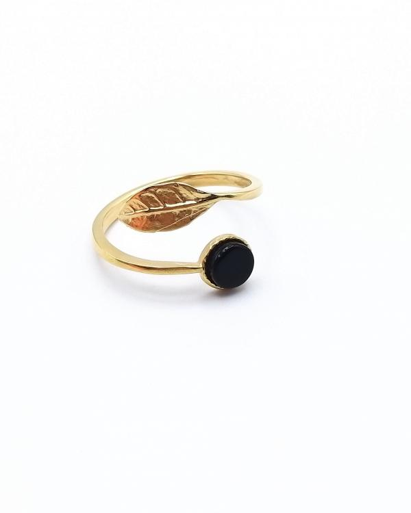 Bague feuille onyx