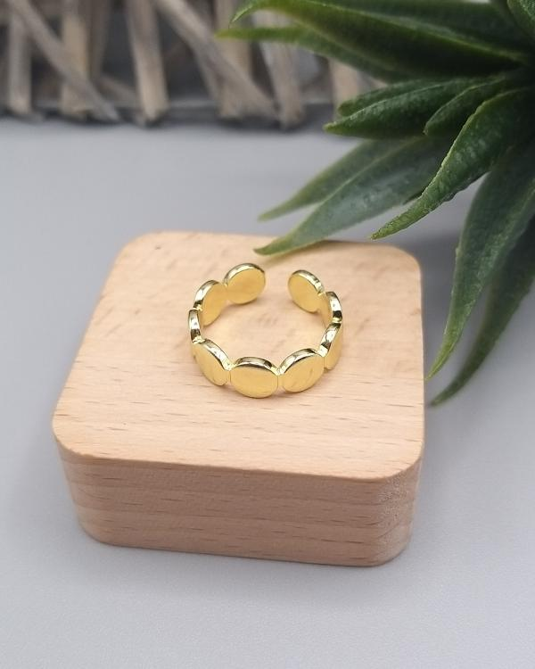 Bague ajustable style minimaliste multi ronds doré à l'or fin 24k