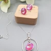 ensemble de bijoux, collier et boucles d'oreilles argent 925 et cristal rose