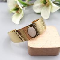 Bracelet manchette ajustable en acier inoxydable or/blanc