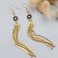 Boucles d'oreilles pendantes frange et rose des vents noir et or