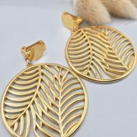 Clips d'oreilles feuilles tropicales, bijoux d'oreilles pour oreilles non percées