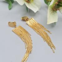 Long clips d'oreilles chaine serpentine dorée, bijoux d'oreilles pour oreilles non percées
